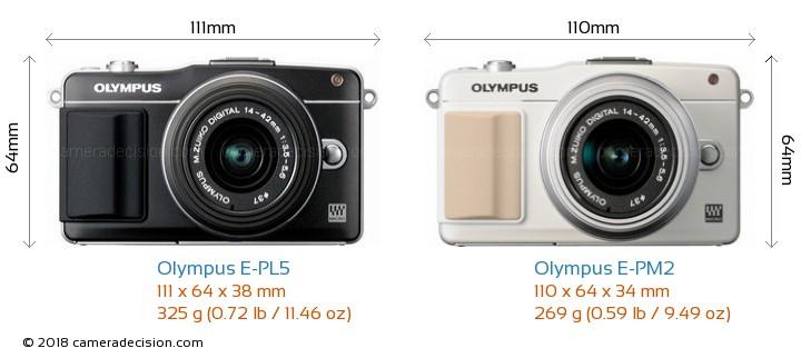 Olympus E-PL5 vs Olympus E-PM2 Camera Size Comparison - Front View