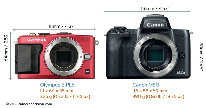 Olympus E-PL6 vs Canon M50 Camera Size Comparison - Front View