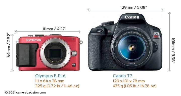 Olympus E-PL6 vs Canon T7 Camera Size Comparison - Front View