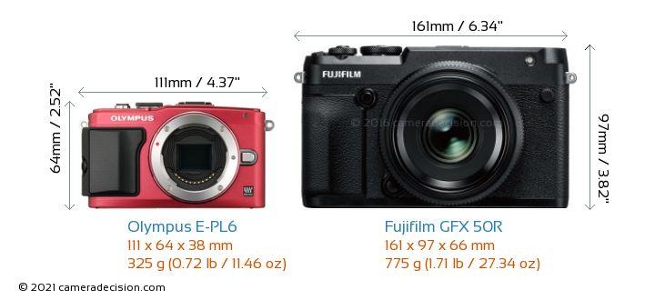 Olympus E-PL6 vs Fujifilm GFX 50R Camera Size Comparison - Front View