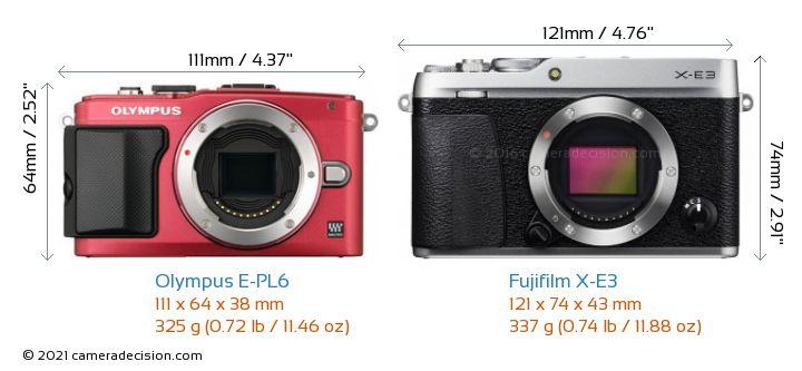 Olympus E-PL6 vs Fujifilm X-E3 Camera Size Comparison - Front View