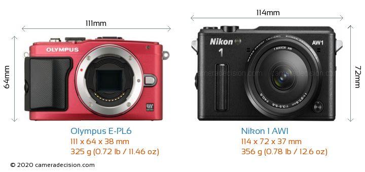 Olympus E-PL6 vs Nikon 1 AW1 Camera Size Comparison - Front View