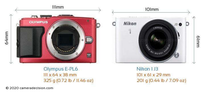 Olympus E-PL6 vs Nikon 1 J3 Camera Size Comparison - Front View