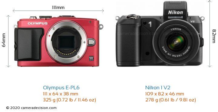 Olympus E-PL6 vs Nikon 1 V2 Camera Size Comparison - Front View
