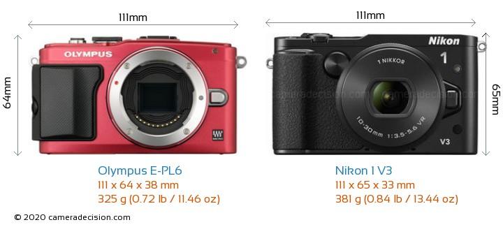Olympus E-PL6 vs Nikon 1 V3 Camera Size Comparison - Front View