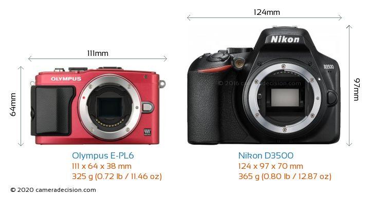Olympus E-PL6 vs Nikon D3500 Camera Size Comparison - Front View