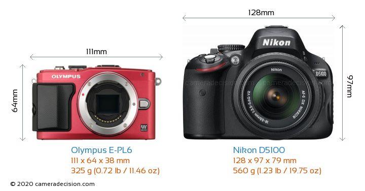 Olympus E-PL6 vs Nikon D5100 Camera Size Comparison - Front View