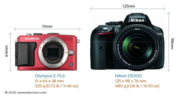 Olympus E-PL6 vs Nikon D5300 Camera Size Comparison - Front View