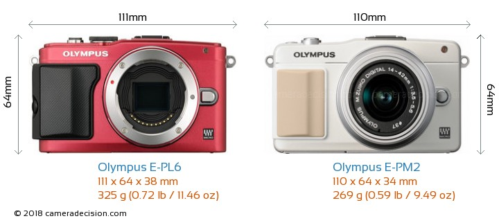 Olympus E-PL6 vs Olympus E-PM2 Camera Size Comparison - Front View