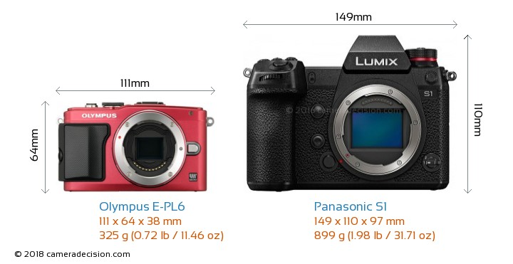 Olympus E-PL6 vs Panasonic S1 Camera Size Comparison - Front View