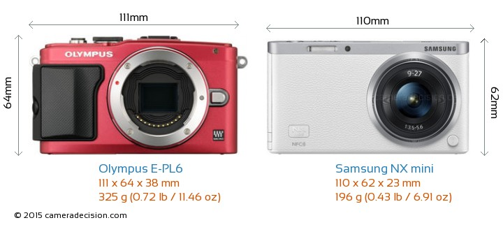 Olympus E-PL6 vs Samsung NX mini Camera Size Comparison - Front View