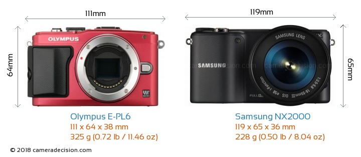 Olympus E-PL6 vs Samsung NX2000 Camera Size Comparison - Front View