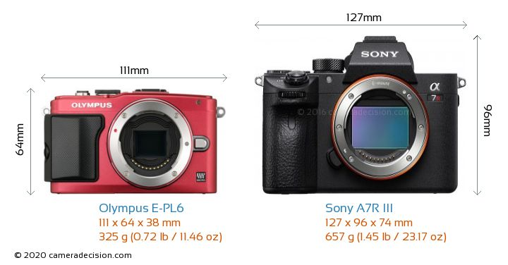 Olympus E-PL6 vs Sony A7R III Camera Size Comparison - Front View