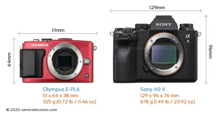 Olympus E-PL6 vs Sony A9 II Camera Size Comparison - Front View