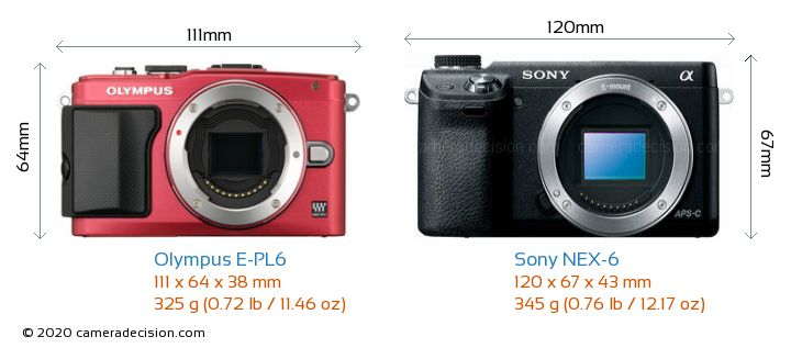 Olympus E-PL6 vs Sony NEX-6 Camera Size Comparison - Front View