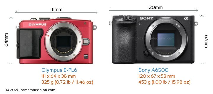 Olympus E-PL6 vs Sony A6500 Camera Size Comparison - Front View