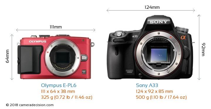 Olympus E-PL6 vs Sony A33 Camera Size Comparison - Front View
