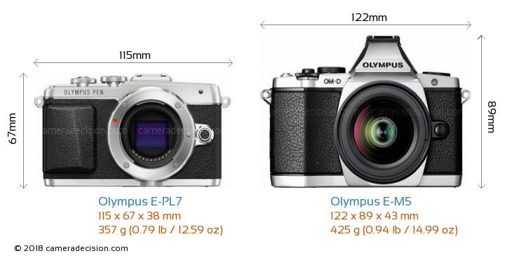 Olympus E-PL7 vs Olympus E-M5 Camera Size Comparison - Front View