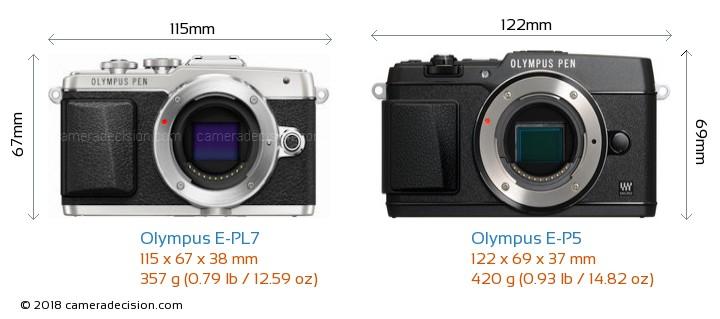 Olympus E-PL7 vs Olympus E-P5 Camera Size Comparison - Front View