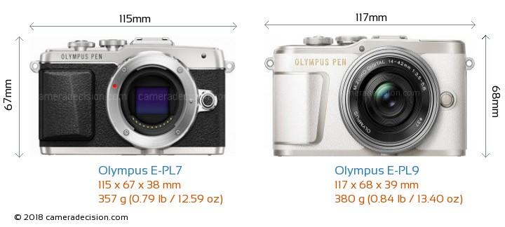 Olympus E-PL7 vs Olympus E-PL9 Camera Size Comparison - Front View