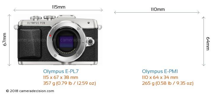 Olympus E-PL7 vs Olympus E-PM1 Camera Size Comparison - Front View
