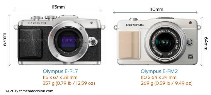 Olympus E-PL7 vs Olympus E-PM2 Camera Size Comparison - Front View
