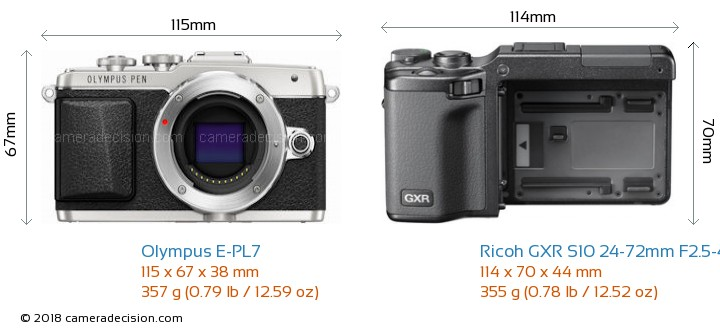 Olympus E-PL7 vs Ricoh GXR S10 24-72mm F2.5-4.4 VC Camera Size Comparison - Front View