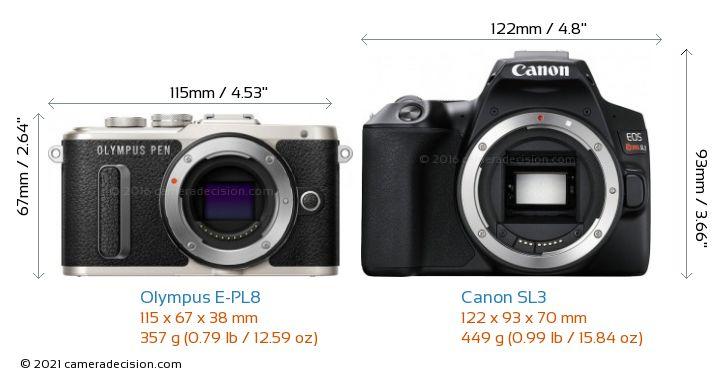 Olympus E-PL8 vs Canon SL3 Camera Size Comparison - Front View