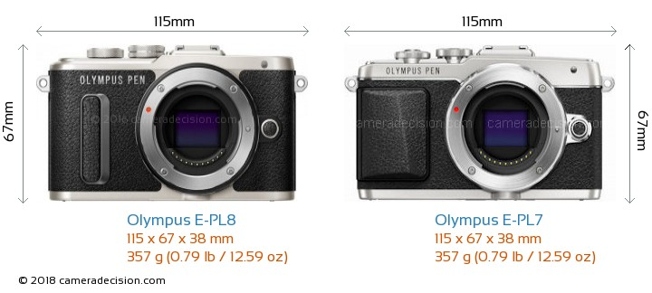 Olympus E-PL8 vs Olympus E-PL7 Camera Size Comparison - Front View