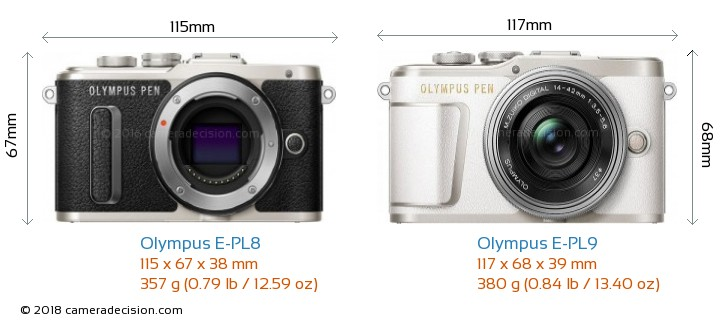 Olympus E-PL8 vs Olympus E-PL9 Camera Size Comparison - Front View