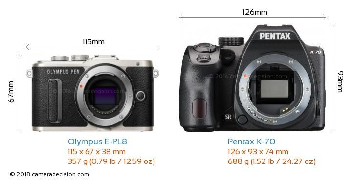 Olympus E-PL8 vs Pentax K-70 Camera Size Comparison - Front View