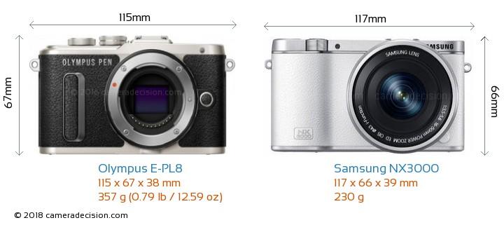Olympus E-PL8 vs Samsung NX3000 Camera Size Comparison - Front View