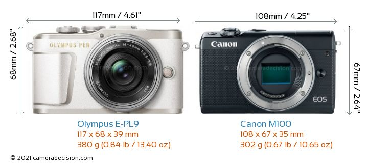 Olympus E-PL9 vs Canon M100 Camera Size Comparison - Front View