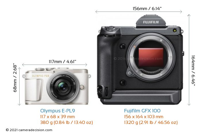 Olympus E-PL9 vs Fujifilm GFX 100 Camera Size Comparison - Front View