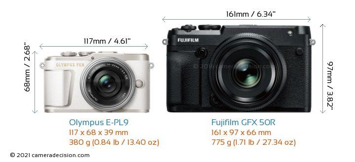 Olympus E-PL9 vs Fujifilm GFX 50R Camera Size Comparison - Front View