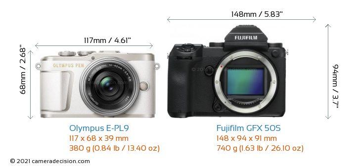 Olympus E-PL9 vs Fujifilm GFX 50S Camera Size Comparison - Front View