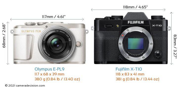Olympus E-PL9 vs Fujifilm X-T10 Camera Size Comparison - Front View