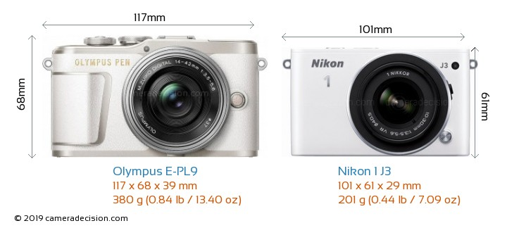Olympus E-PL9 vs Nikon 1 J3 Camera Size Comparison - Front View