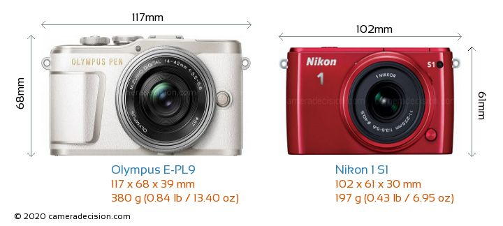 Olympus E-PL9 vs Nikon 1 S1 Camera Size Comparison - Front View