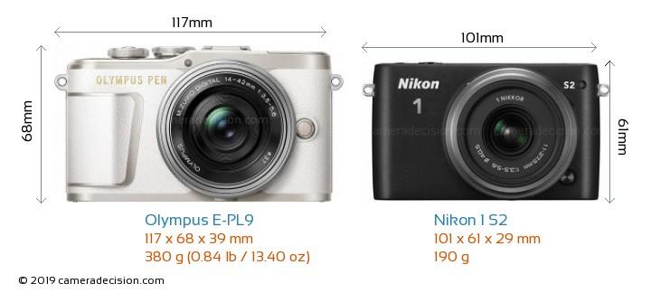 Olympus E-PL9 vs Nikon 1 S2 Camera Size Comparison - Front View