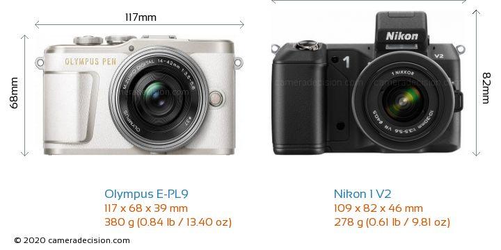 Olympus E-PL9 vs Nikon 1 V2 Camera Size Comparison - Front View