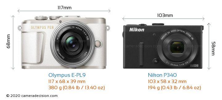 Olympus E-PL9 vs Nikon P340 Camera Size Comparison - Front View