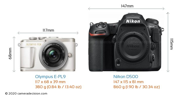 Olympus E-PL9 vs Nikon D500 Camera Size Comparison - Front View
