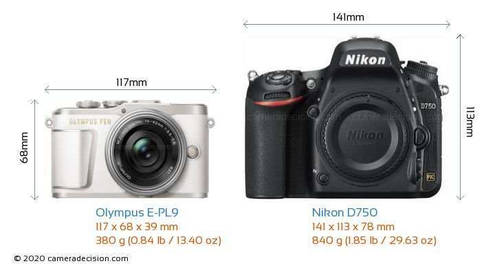 Olympus E-PL9 vs Nikon D750 Camera Size Comparison - Front View