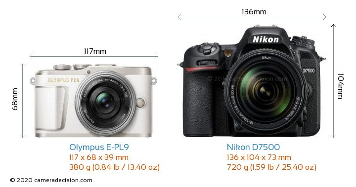 Olympus E-PL9 vs Nikon D7500 Camera Size Comparison - Front View