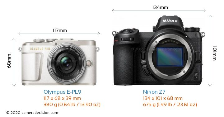 Olympus E-PL9 vs Nikon Z7 Camera Size Comparison - Front View