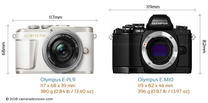 Olympus E-PL9 vs Olympus E-M10 Camera Size Comparison - Front View