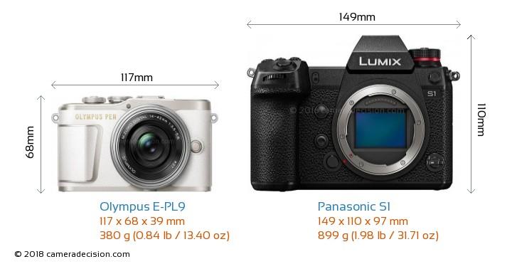 Olympus E-PL9 vs Panasonic S1 Camera Size Comparison - Front View