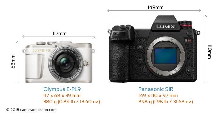Olympus E-PL9 vs Panasonic S1R Camera Size Comparison - Front View
