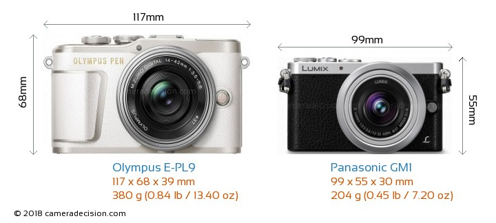 Olympus E-PL9 vs Panasonic GM1 Camera Size Comparison - Front View